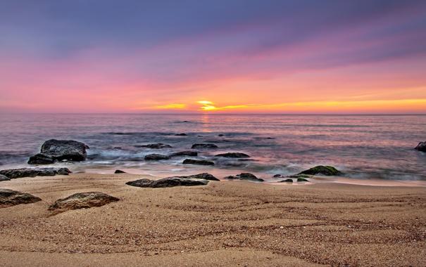 Фото обои море, закат, beach, sea, sunset, sand, wave