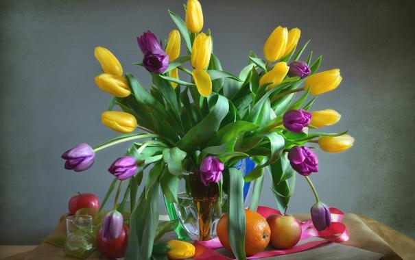 Фото обои яблоко, апельсин, букет, тюльпаны