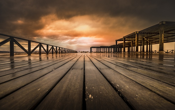 Фото обои ночь, мост, река