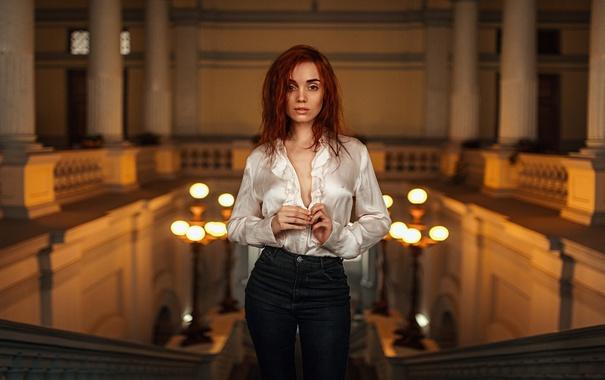 Фото обои Девушка, Взгляд, Свет, Волосы, Красивая, Рыжие, Анастасия Ройф