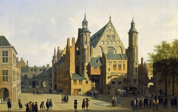 Фото обои люди, дома, картина, площадь, городской пейзаж, Гаага, Вид на Бинненхоф