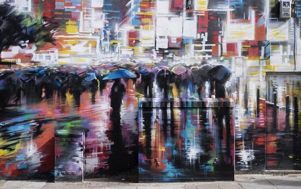 Фото обои стена, город, графити