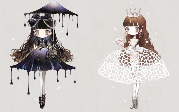 Фото обои девочки, крест, зонт, корона, зеркало, туфли, сумка