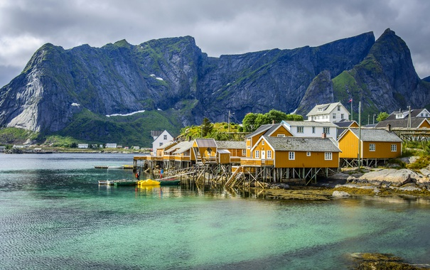 Фото обои море, горы, скалы, дома, Норвегия, залив, Lofoten