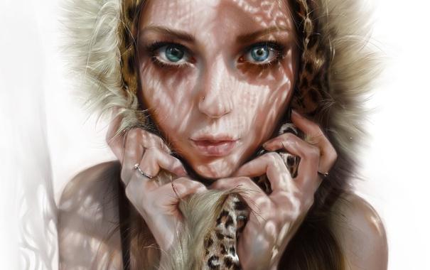 Фото обои глаза, взгляд, девушка, лицо, красота, арт, капюшон