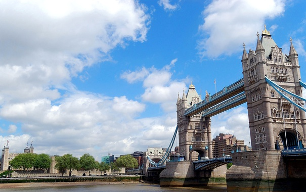 Фото обои облака, мост, река, Англия, Лондон