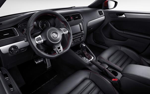 Фото обои панель, интерьер, Volkswagen, руль, салон, фольксваген, торпедо