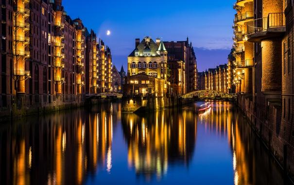 Фото обои небо, облака, свет, ночь, мост, город, огни