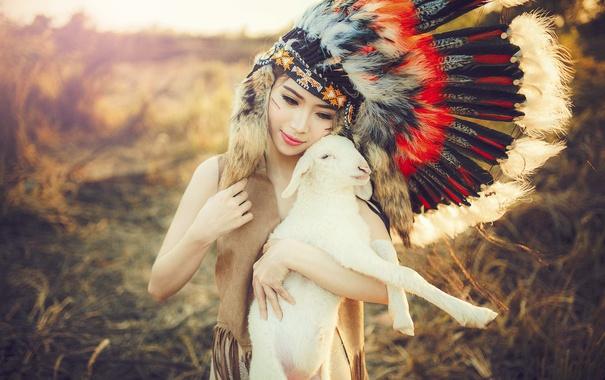 Фото обои лето, девушка, лицо, красота, перья, прелесть, овечка