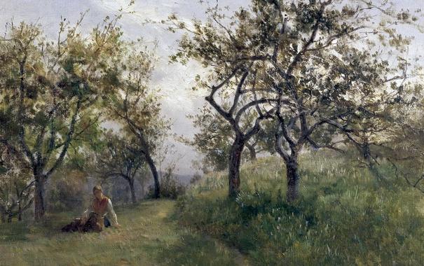 Фото обои трава, девушка, деревья, пейзаж, природа, картина, Карлос де Хаэс