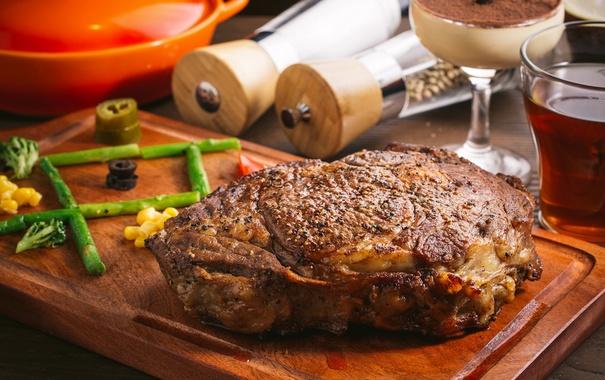 Фото обои мясо, спаржа, буженина