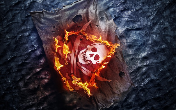 Фото обои огонь, череп, Black Flag, Assassins Creed 4