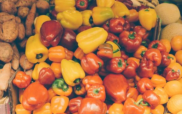 Фото обои желтый, красный, перец, много