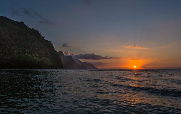 Фото обои небо, пейзаж, закат, горы, Kauai, Кауаи