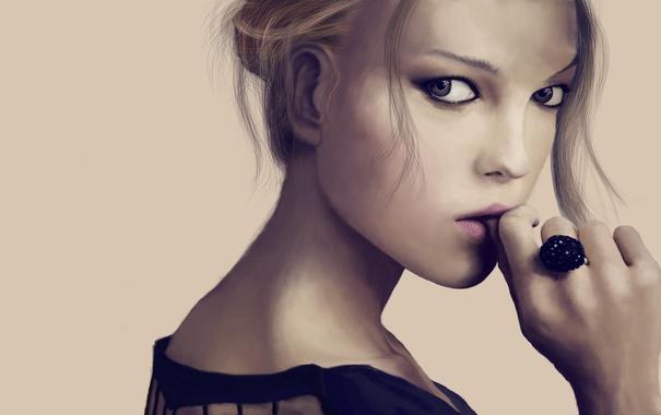 Фото обои глаза, взгляд, лицо, Девушка, кольцо