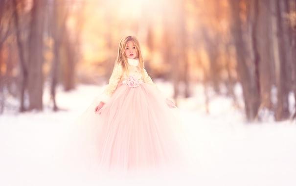 Фото обои снег, платье, девочка, Meg Bitton