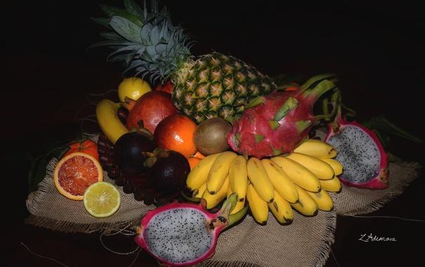Фото обои апельсин, киви, фрукты, ананас, банан, гранат, питахайя