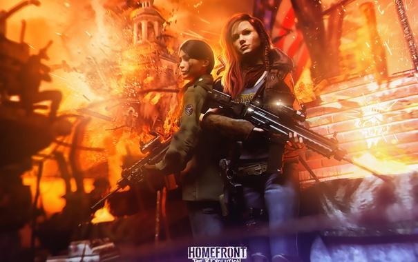 Фото обои оружие, девушки, огонь, башня, флаг, восстание, Homefront: The Revolution