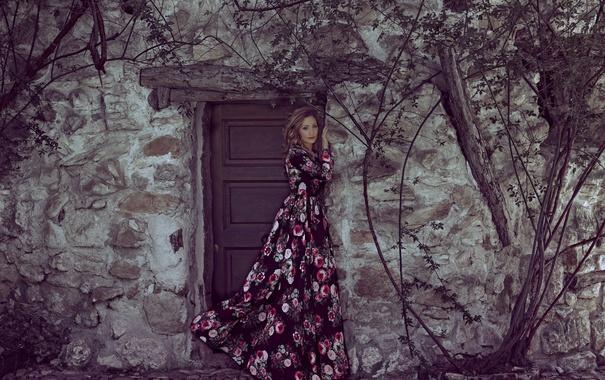 Фото обои девушка, лицо, дом, стена, волосы, платье, дверь
