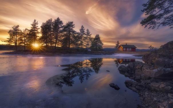 Фото обои зима, озеро, дом