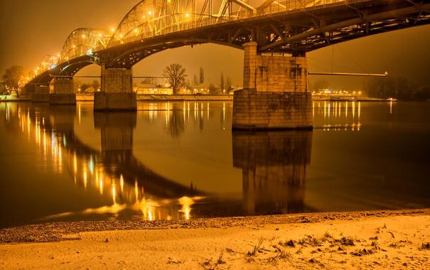 Фото обои ночь, мост, огни, река, фонари, Gran, Венгрия
