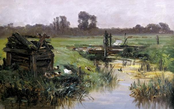 Фото обои трава, пейзаж, ручей, картина, Карлос де Хаэс, Луга Голландии