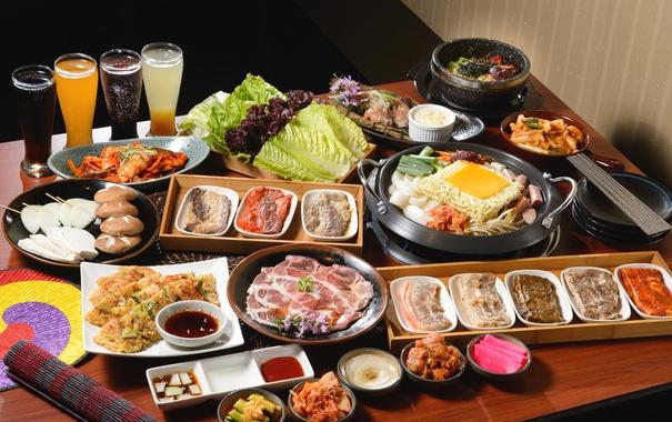 Фото обои сок, мясо, рис, овощи, соус, блюда, ассорти