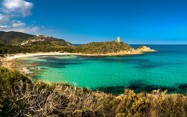Фото обои море, пляж, небо, голубое, побережье, Франция, бухта