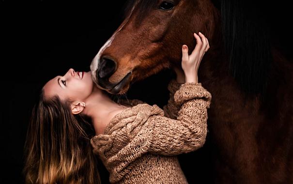 Фото обои девушка, настроение, конь