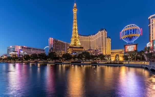 Фото обои ночь, огни, пруд, башня, дома, Лас-Вегас, Эйфелева башня