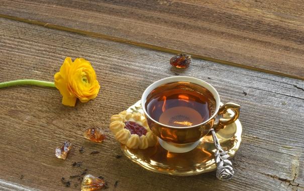 Фото обои чай, печенье, чашка, напиток, блюдце, ранункулюс