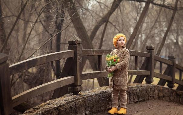 Фото обои девушка, цветы, природа, ребенок, тюльпаны
