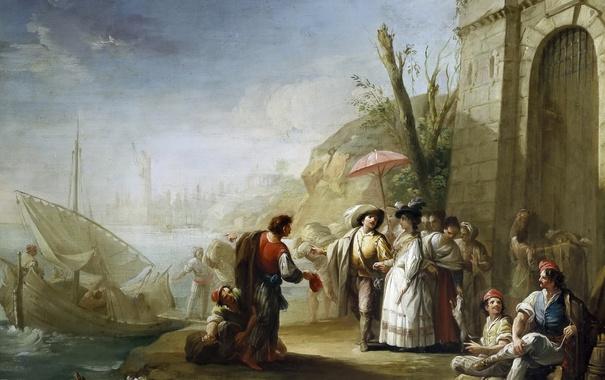 Фото обои люди, лодка, картина, парус, жанровая, Прогулка по Берегу Моря, Мариано Сальвадор Маэлья