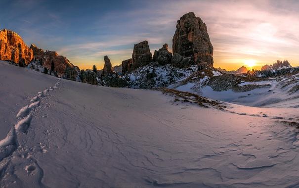 Фото обои снег, горы, природа