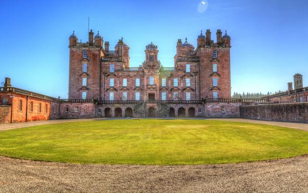 Фото обои небо, солнце, замок, газон, HDR, Великобритания, Drumlanrig Castle