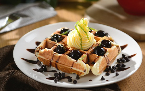 Фото обои шоколад, крем, десерт, вафли
