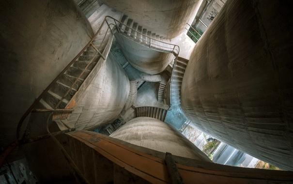 Фото обои фон, башня, лестница