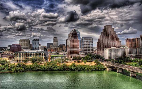 Фото обои Небо, Мост, Город, Река, USA, Austin, Texas