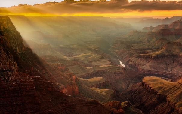 Фото обои небо, облака, горы, река, камни, скалы, каньон