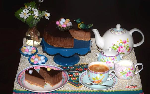 Фото обои кофе, шоколад, торт, выпечка, декор, чизкейк