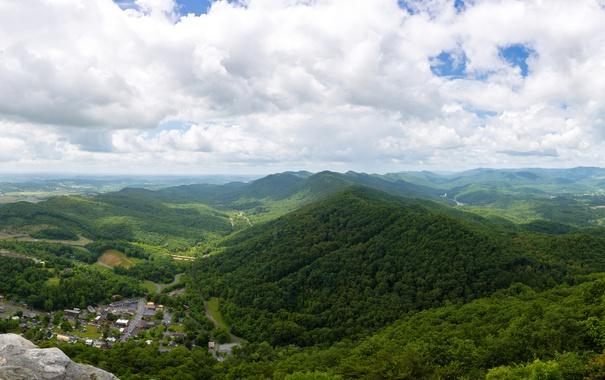 Фото обои зелень, лес, облака, горы, панорама, Вирджиния, США