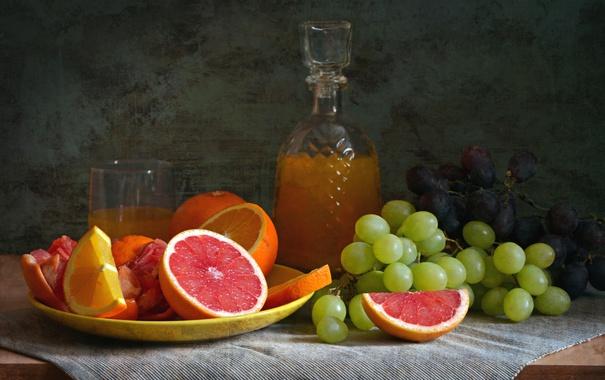 Фото обои натюрморт, апельсин, грейпфрут, сок, виноград, цитрусы