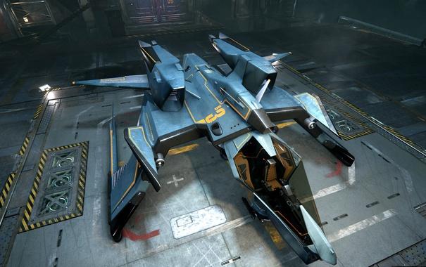 Фото обои корабль, Mustang, станция, посадка, Star Citizen
