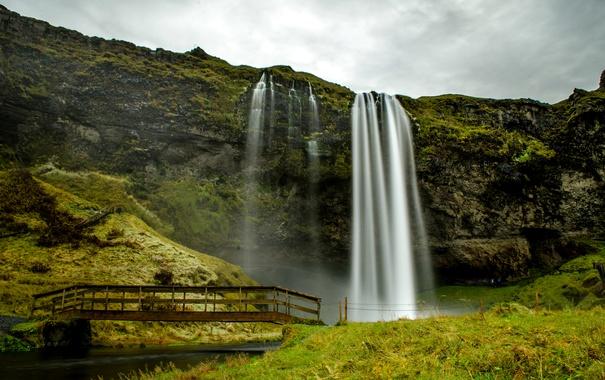 Фото обои мост, скала, водопад, Исландия, Seljalandsfoss