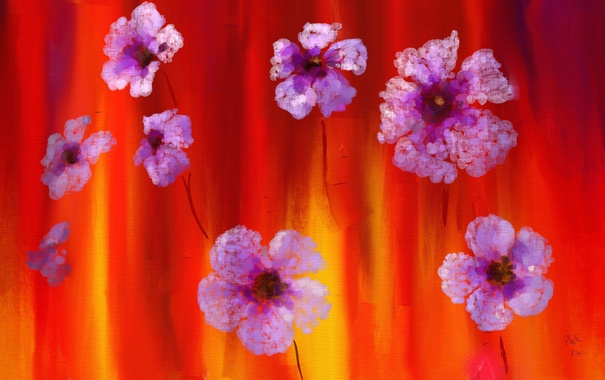 Фото обои цветы, краски, картина, лепестки