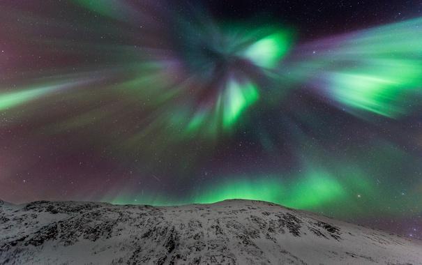 Фото обои небо, звезды, пейзаж, горы, северное сияние, Норвегия