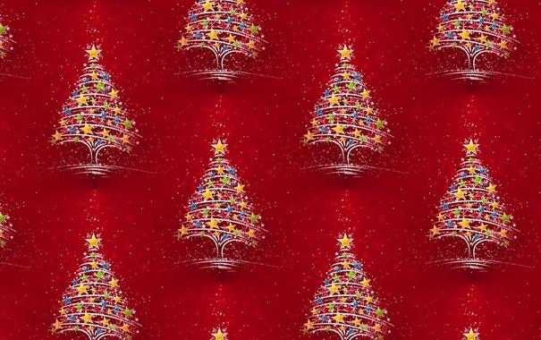 Фото обои огни, фон, праздник, текстура, арт, Новый год, ёлочка