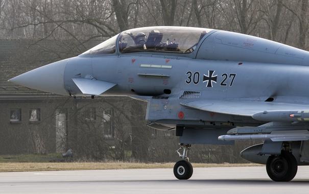 Фото обои истребитель, кабина, пилот, многоцелевой, Eurofighter Typhoon