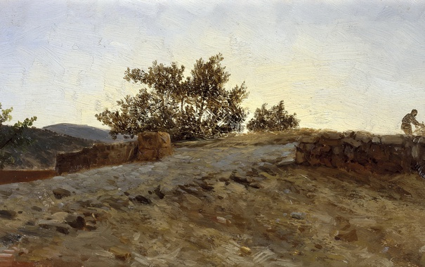 Фото обои пейзаж, Закат, картина, Карлос де Хаэс, Арагон
