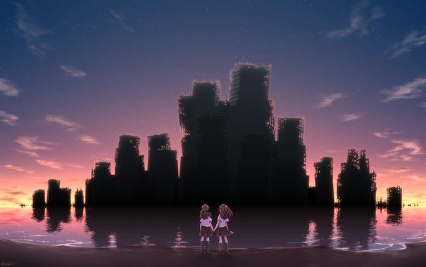 Фото обои небо, звезды, облака, закат, девушки, берег, аниме